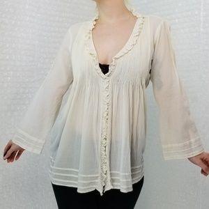 Joie cream sheer pin-tuck ruffle boho blouse
